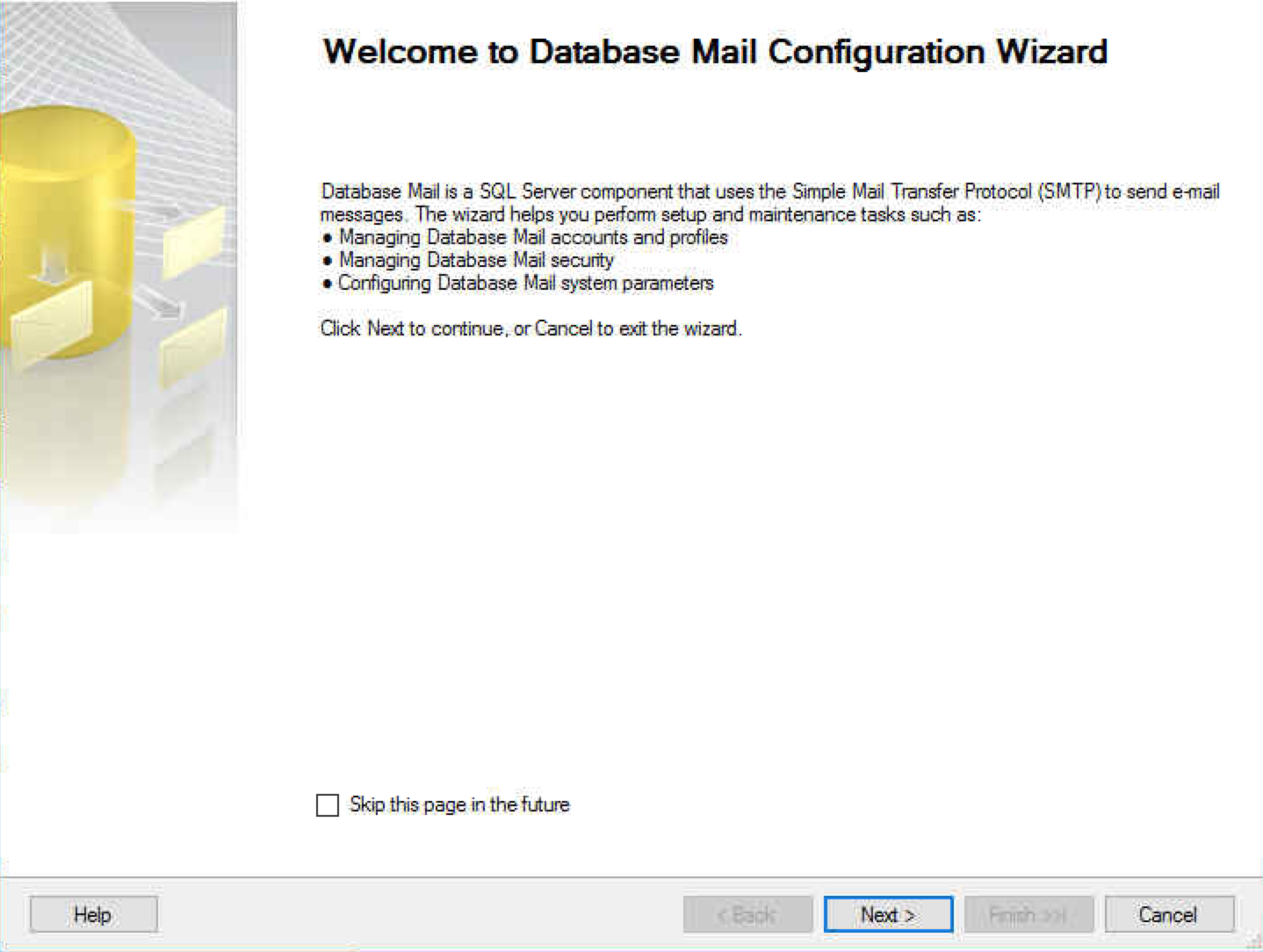 Start the Database Mail Configuration Wizard